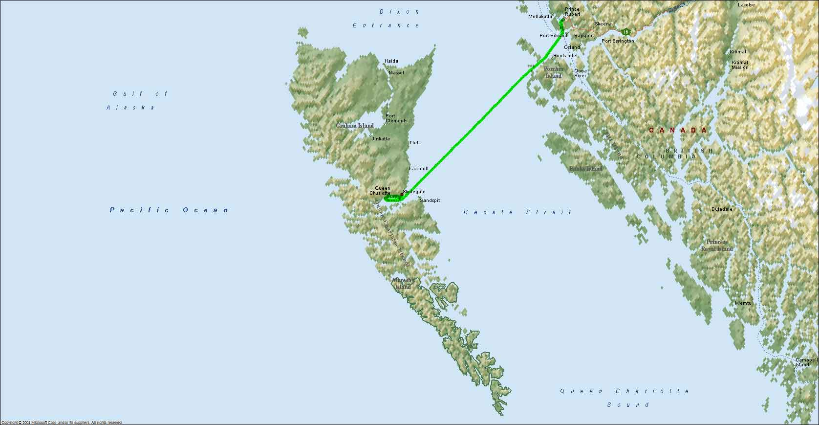 Queen Charlotte Islands, BC to Prince Rupert, BC on